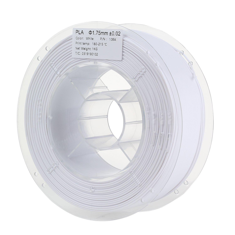 HICTOP 1.75mm White PLA 3D Printer Filament - 1kg Spool (2.2 lbs) - Dimensional Accuracy +/- 0.02mm