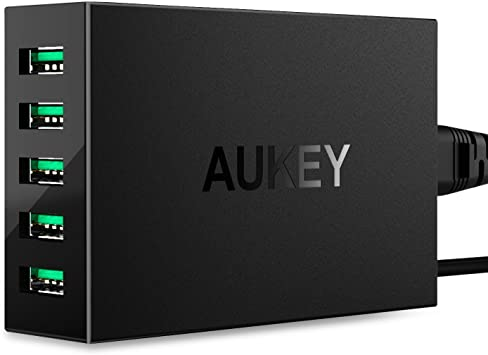 iPad Pro 8 Plus iPhone X Quick Charge 3.0 AUKEY 60W USB Charger with 6-Port USB Charging Station for Samsung Galaxy Note8 Air 2 and More