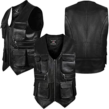ARD Men/'s Leather Motorcycle Cargo Hiking Vest with Gun Pocket and Front Pockets