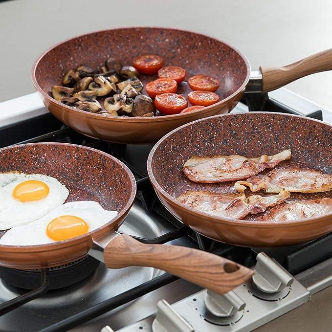 JML Set of 3 Copper Stone Frying Pans image 4