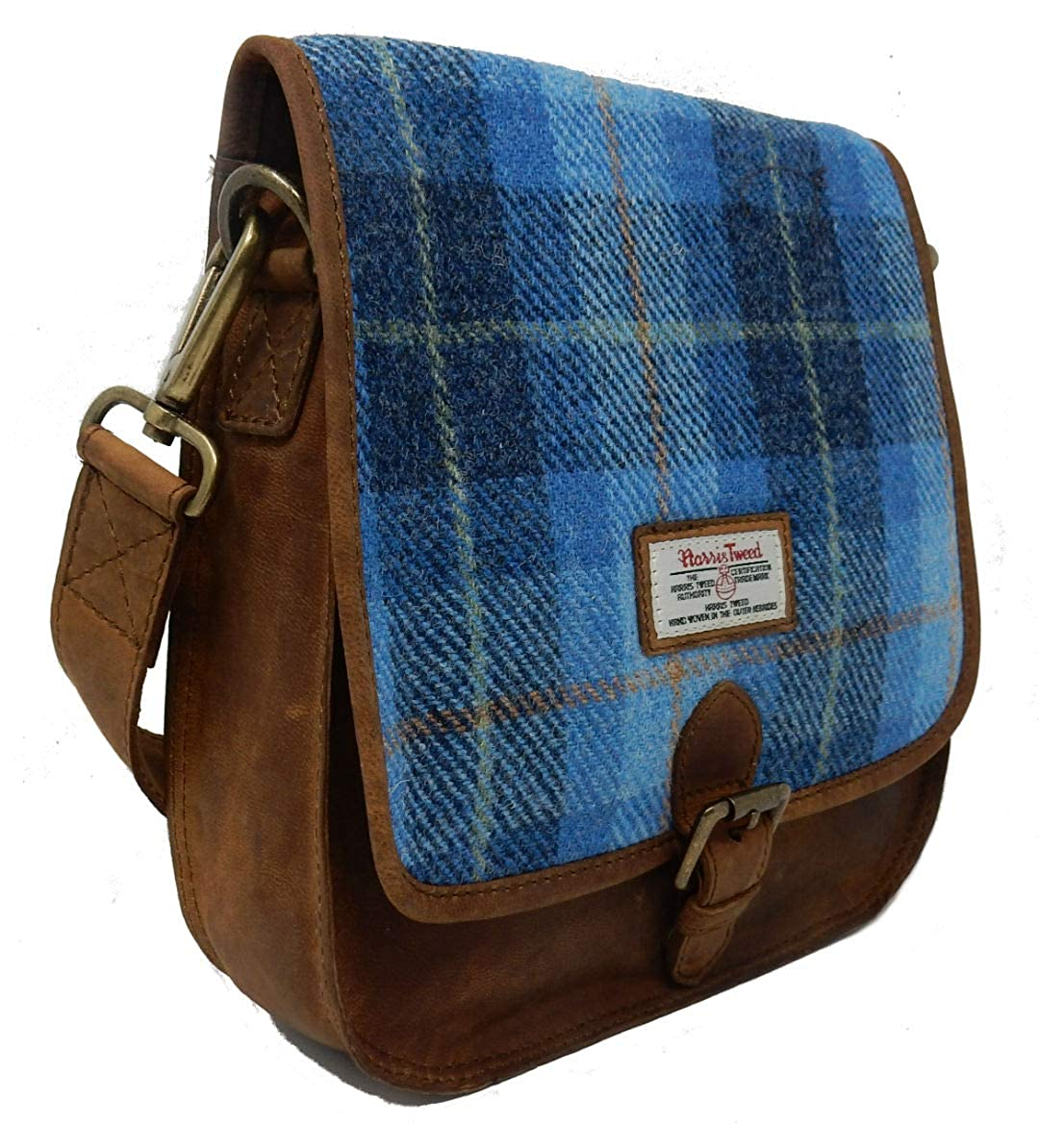f33ba1801175 Leather Saddle Bag with Blue Tartan Harris Tweed  Amazon.co.uk  Shoes   Bags