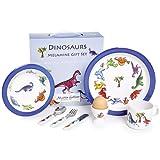 Martin Gulliver Designs Dinosaurs Gift Set, Melamine, Multi-Colour, 23 x 23 x 7 cm