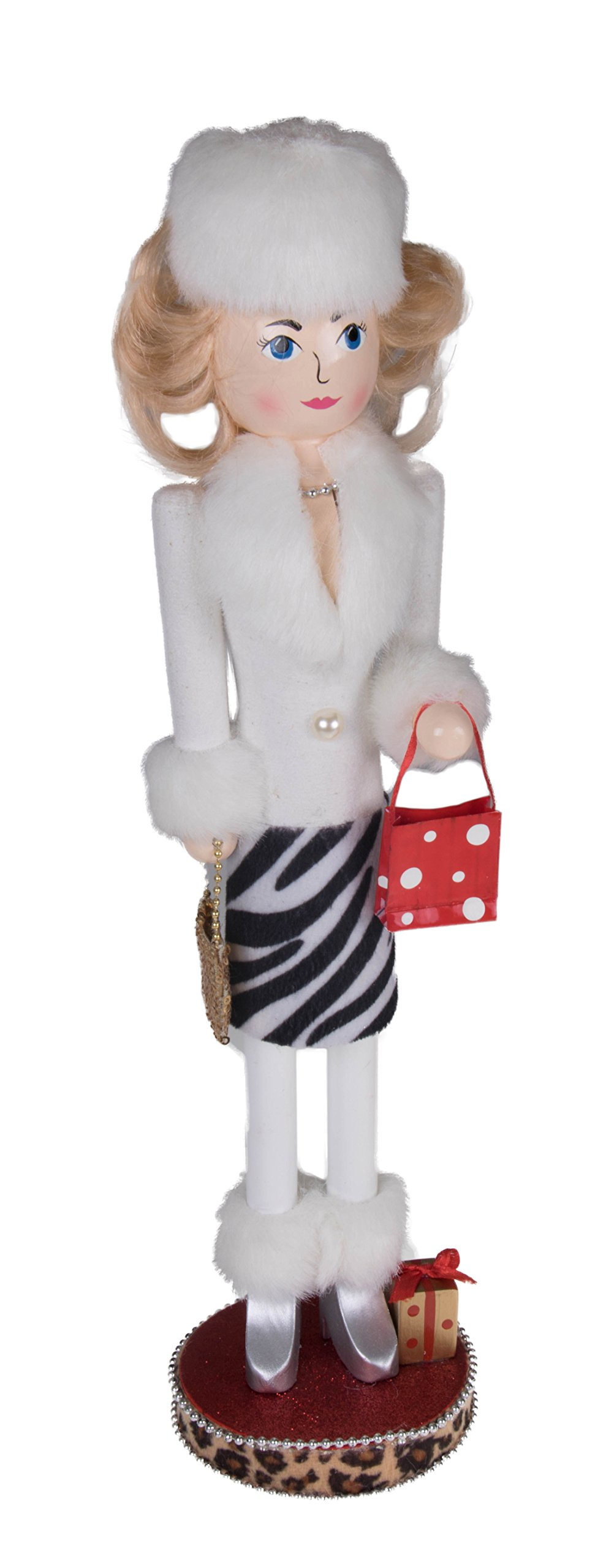 Woman Shopping Christmas Nutcracker by Clever Creations | White Fur Coat and Zebra Print Skirt | Festive Decor | Purse & Red Polka Dot Gift Bag | 100% Wood | Perfect For Shelves &Tables | 15'' Tall