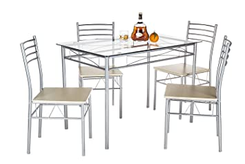 Amazon.com: VECELO Dining Table with 4 Chairs - Silver: Kitchen ...