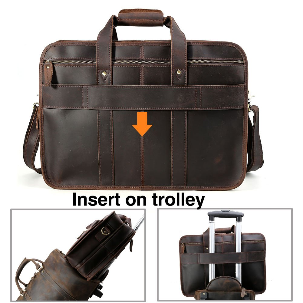 """Tiding Cowhide Leather Vintage Laptop Bag – Durable, Spacious, Stylish Carry On Business Bag – Fits 17.3"""" Laptop – Perfect for The Busy Businessman by Tiding (Image #3)"""