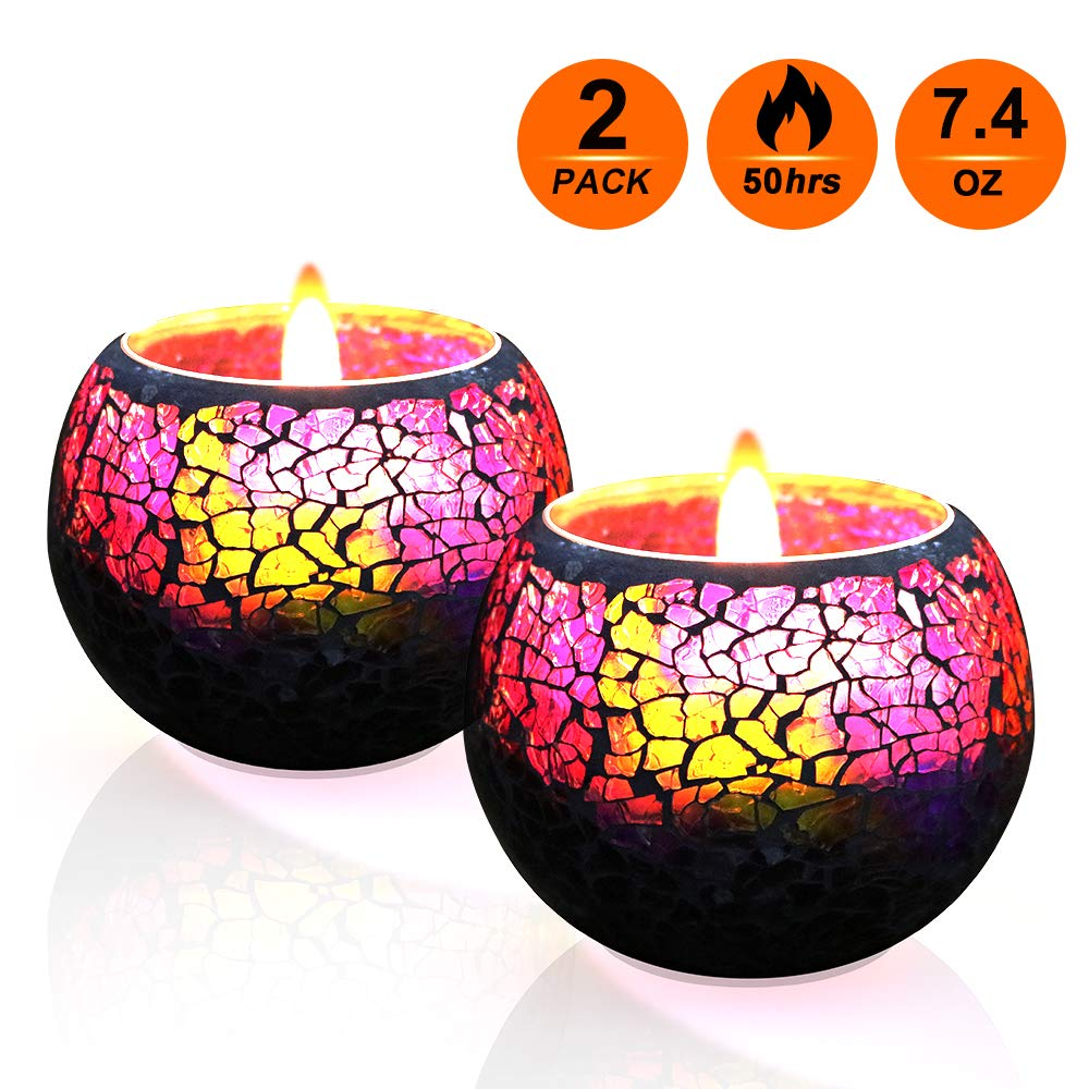 U2C Scented Candle Gift Set, Handmade 7.4oz x 2 Pack Scented Lavender Travel Candle, Large Glass 100% Soy Wax Candle for Stress Relief and Aromatherapy, Indoor and Outdoor Use, Candles