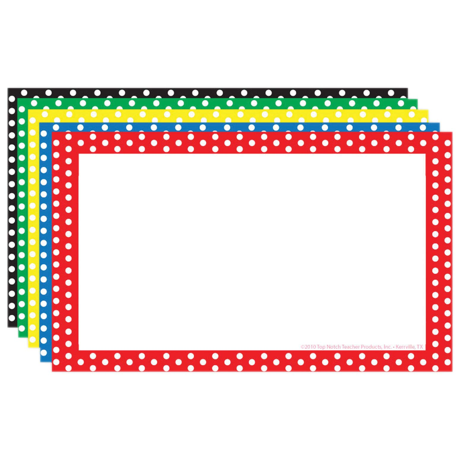 Top Notch Teacher Products TOP3653BN Border Index Cards, 3'' x 5'' Blank, Polka Dot, 75 Per Pack, 6 Packs