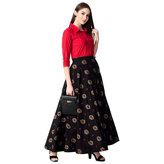ed5ebf4220 Khushal K Women's Rayon Top With Long Skirt Set: Amazon.in: Clothing &  Accessories