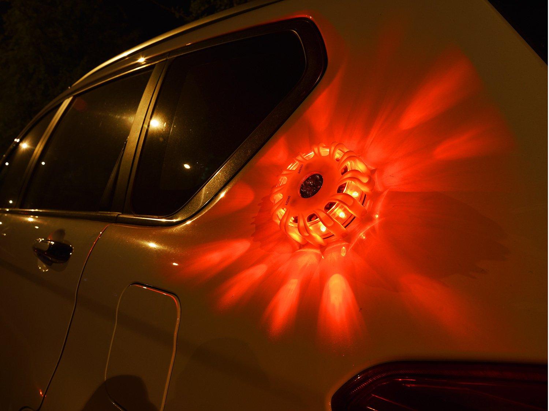 Car Safety Flares Kit Vehicles Boat Jeeps Bike Truck SUVs SlimK 3 Pack LED Road Flares Emergency Disc Roadside Safety Flashing Beacon Highway Warning Light