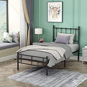 YB&GQ Single Metal Bed Frame with Headboard and Footboard Mattress,6 Legs Two Headboards Mattress Foundation Platform Bed No Box Spring Needed