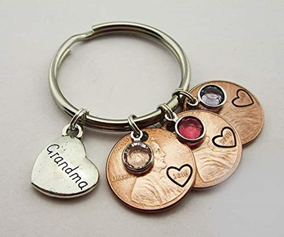 Valentine for Mom First Mother/'s Day Wife from Baby Custom Personalized Mommy Penny Keychain Mom Mother/'s Day Gift New mommy Grandma
