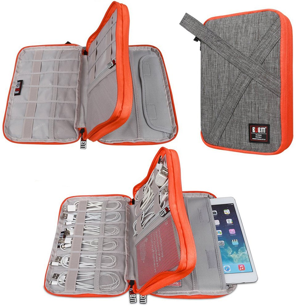 Universal Electronics Accessories Organizer Bag for USB,SD Card, Flash Driver,Cable Cords,Power Bank,iPad Mini, Travel Gear Bag(Medium, Grey Color)