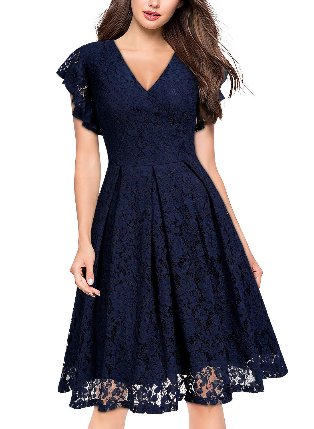 0c91643be2e6 MISSMAY Women's Vintage Floral Lace Ruffle V Neck Cocktail Formal Swing  Dress