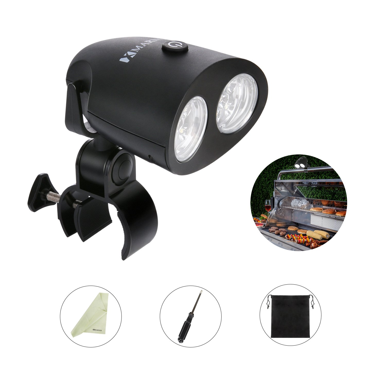 MARNUR BBQ Grill Light Barbecue Grill Lighting - Reading Camping Lights 10 LED Light Ultra Bright for Gas Charcoal and Electric Grill Light Waterproof with 360°Rotation by 【2018 Upgrade】