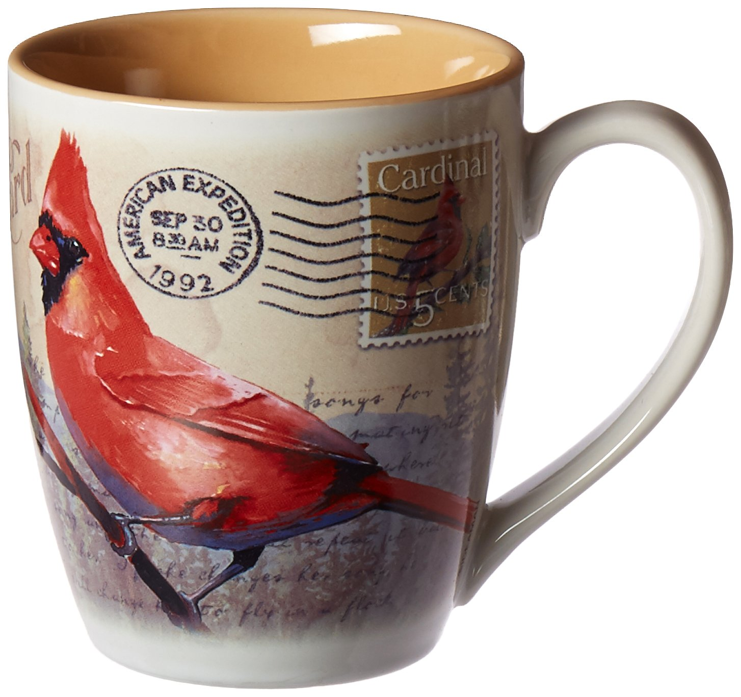 Vintage Bird Series 14oz Stoneware Coffee Mug (Northern Cardinal Postcard)