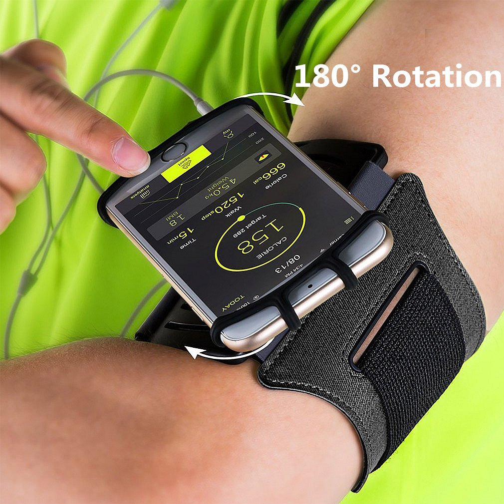 Sports Armband, 180° Rotatable Workout Cellphone Armband Phone Holder for Running Jogging, Cell Phone Running Armband for 4-6'' Phone, iPhone 8 7 6s Plus, Samsung Galaxy S8 S7 S6 (Black) by APzek (Image #2)