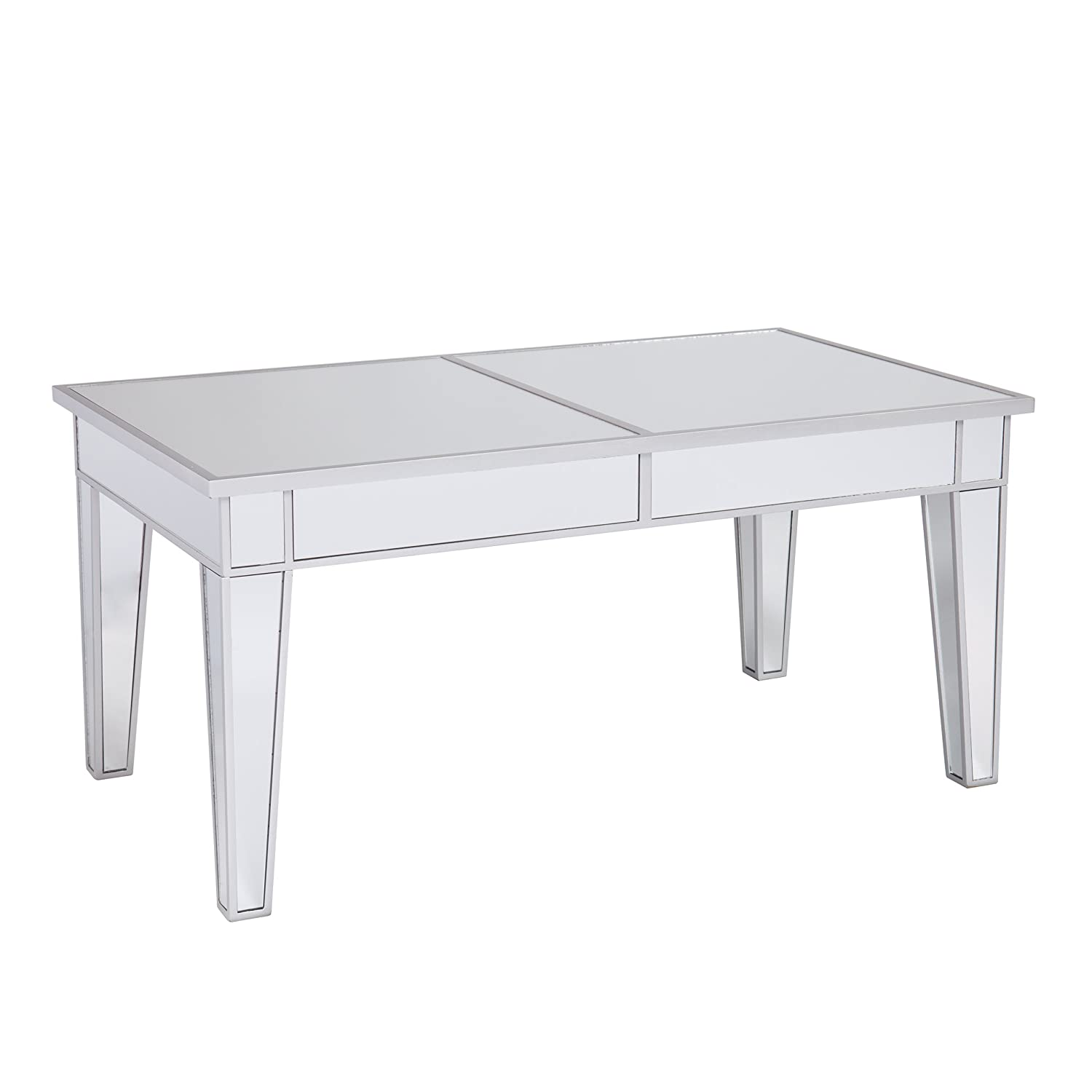 Southern Enterprises Mirage Cocktail Table – Mirror Finish w Silver Trim – Glam Style