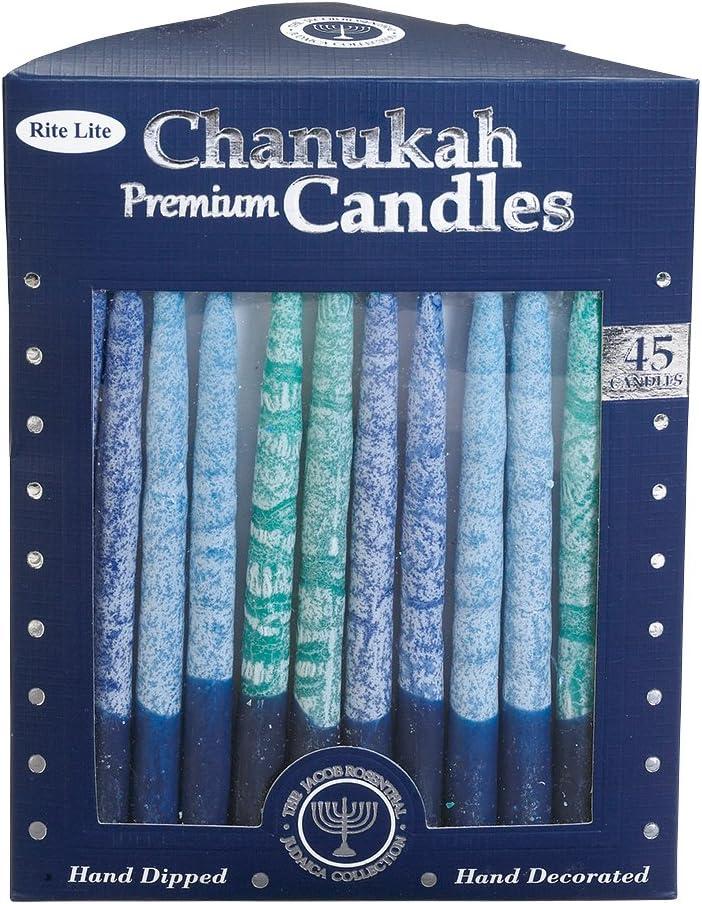 Rite-Lite Judaica Hand-Dipped Shades of Blue 5 3/4-Inch Chanukah Candles, Box of 45