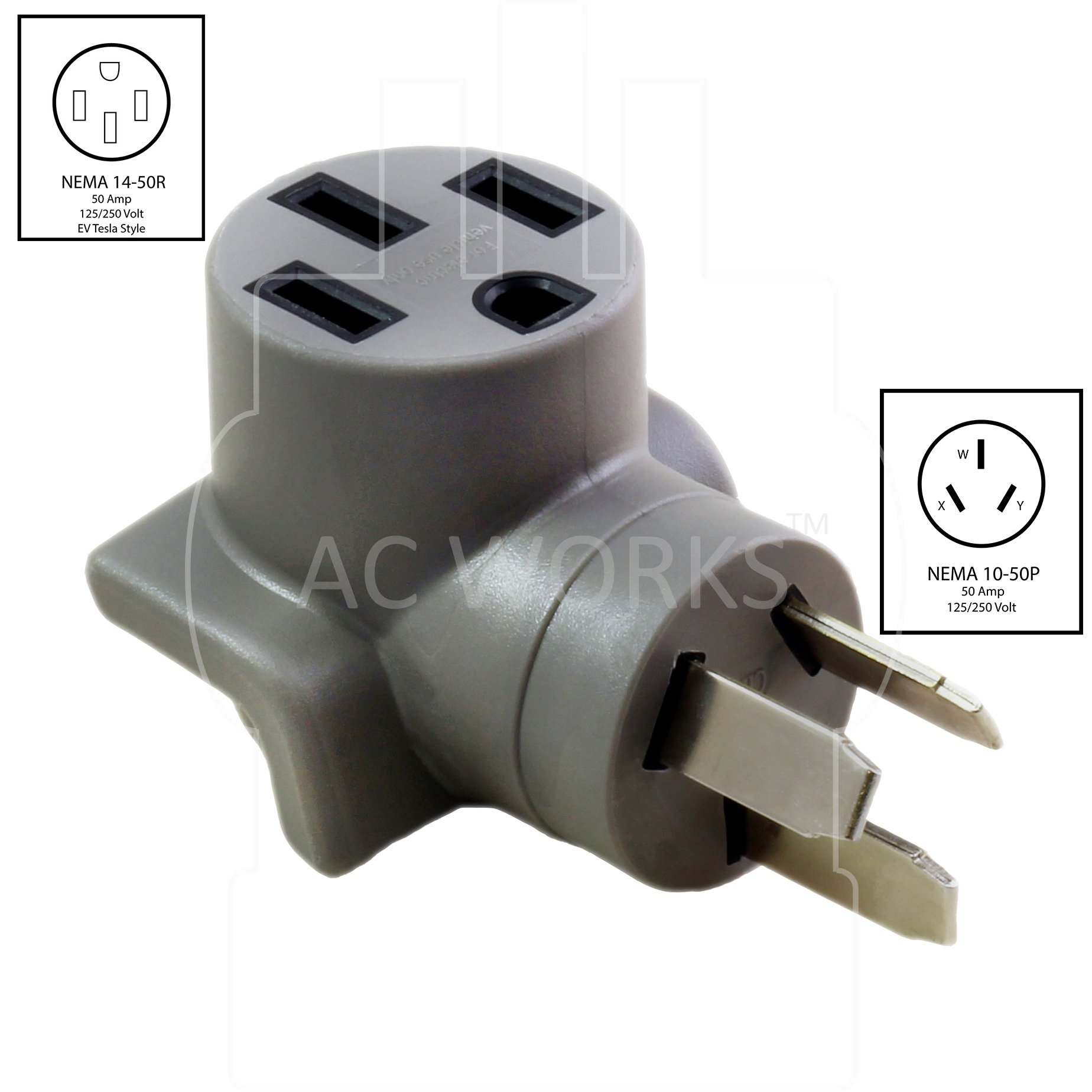 AC WORKS EV Charging Adapter for Tesla Use (10-50 50A 3-Prong Straight Blade to Tesla) by AC WORKS (Image #2)