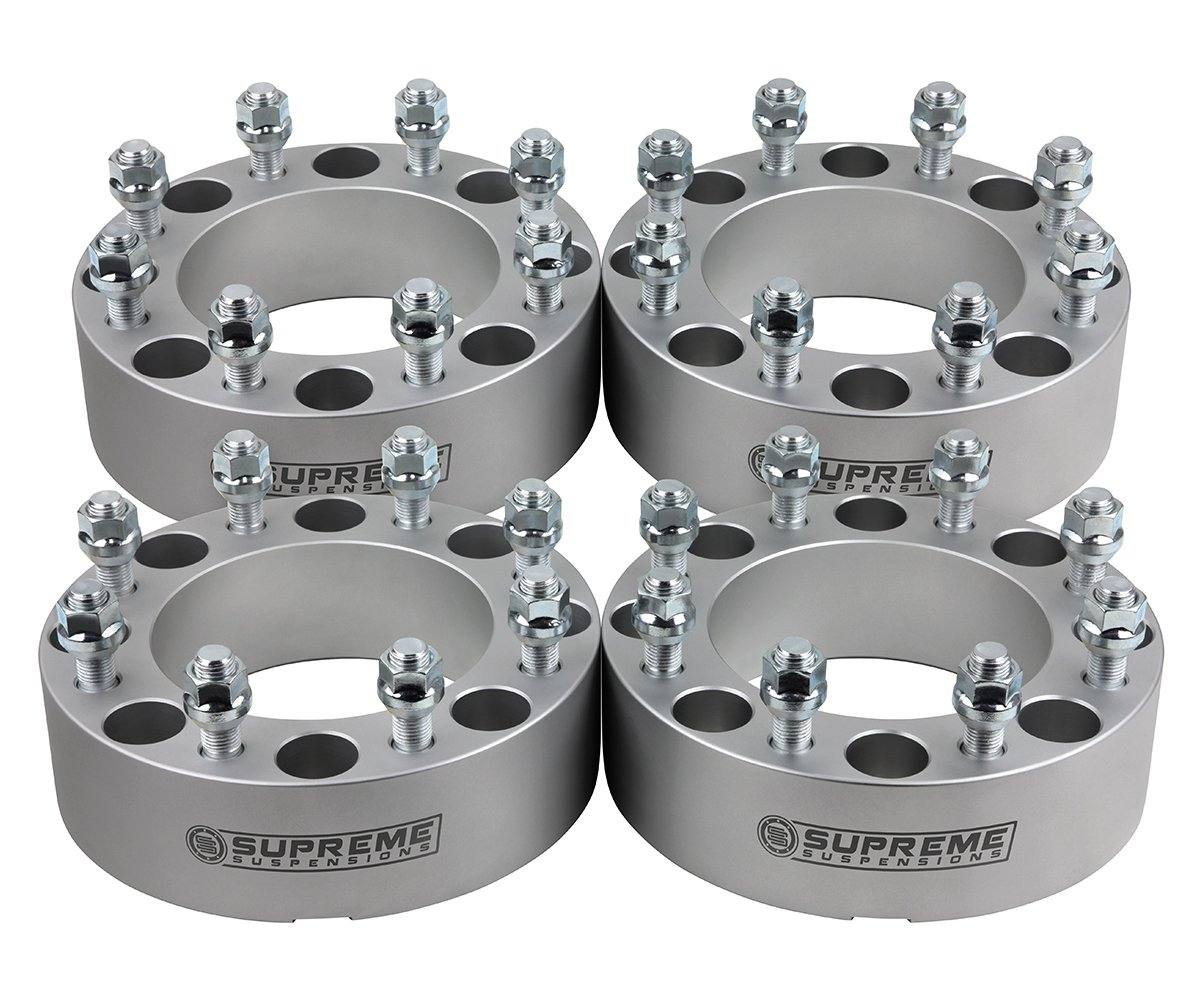 Supreme Suspensions - (4pc) 1988-2000 Chevy K3500 1.5'' Wheel Spacers 8x6.5'' (8x165.1mm) with M14x1.5 Studs [Silver]