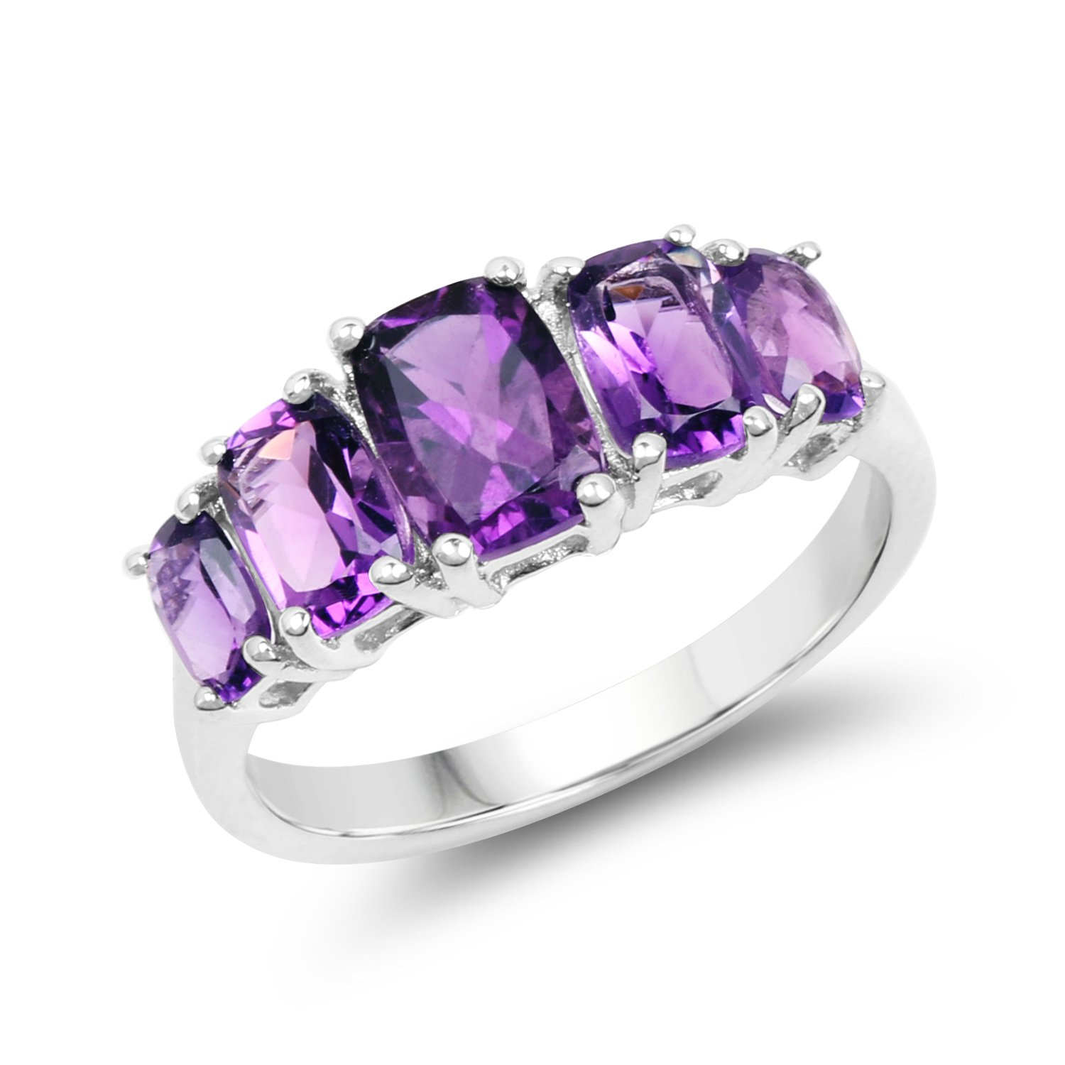2.34 Carats Genuine African Amethyst Cushion Cut 5 Stone Ring Solid .925 Sterling Silver With Rhodium Plating