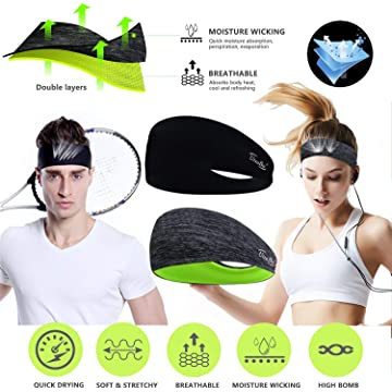Headbands for Men & Women - Sweat Bands Headbands Men & Women 2 Packs Mens Headband & Sports Headband for Running, Fitness, Yoga, Workout, Gym - Head Bands for Performance Stretch & Moisture Wicking