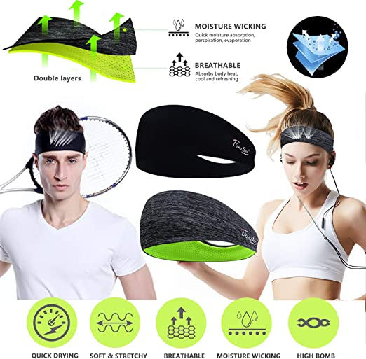 Women Men/'s Sport Headband Polyester Sweat Sweatband Yoga Gym Exercise Hairband
