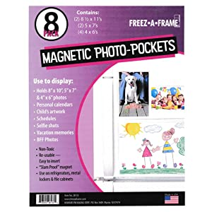 Freez A Frame Clear Magnetic Picture Frames For Refrigerator School Locker, or any Magnetic Surface 8 Pack (2) 8.5 x 11 (2) 5 x 7 (4) 4 x 6 Photo Pockets
