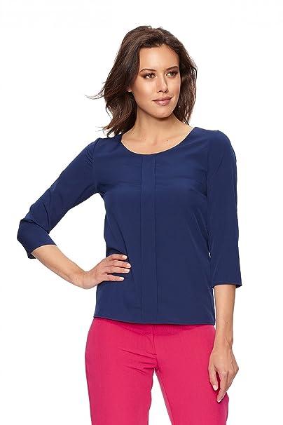Clea Blusa con Un Original Pliegue, Color Azul Marino, Talla:36
