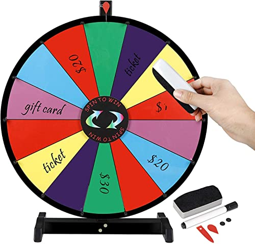 Saturnpower 24 Inch Tabletop Spinning Prize Wheel Spinner 14 Slots w Color Dry Erase Trade Show Fortune Spin Game