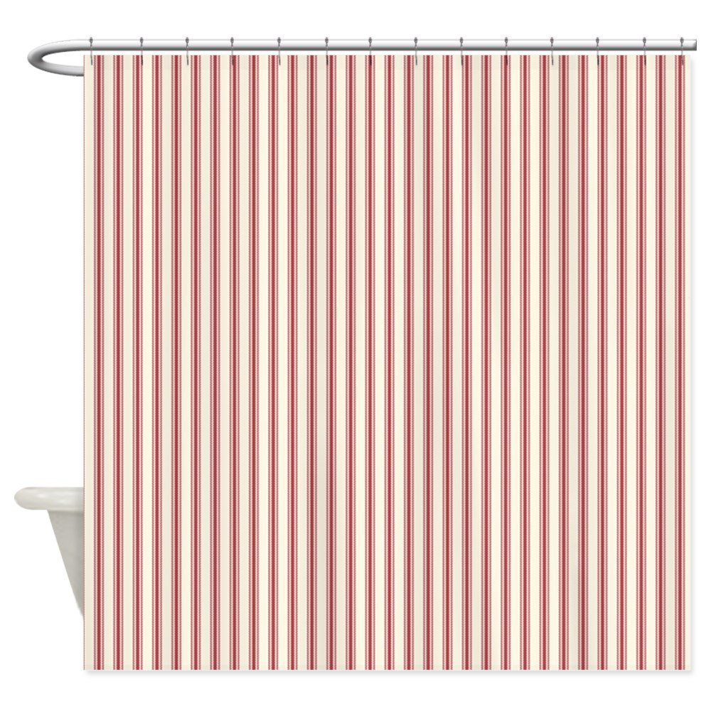 Amazon CafePress Red Ticking Shower Curtain Decorative Fabric 69x70 Home Kitchen
