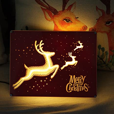 juelk papercut light boxes creative art lamp room decorations christmas reindeer