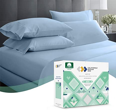 600 Thread Count 3pc Twin Blue Sheet Set 100 Cotton Sheets Set Extra Long Staple Cotton Sheet For Bed Fits Mattress 15 Deep Pocket Sateen Weave Soft Cotton Kitchen Dining