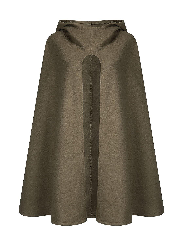Choies Womens Split Front Hooded Cape Poncho Cape Soft Woolen Coat Black//Gray