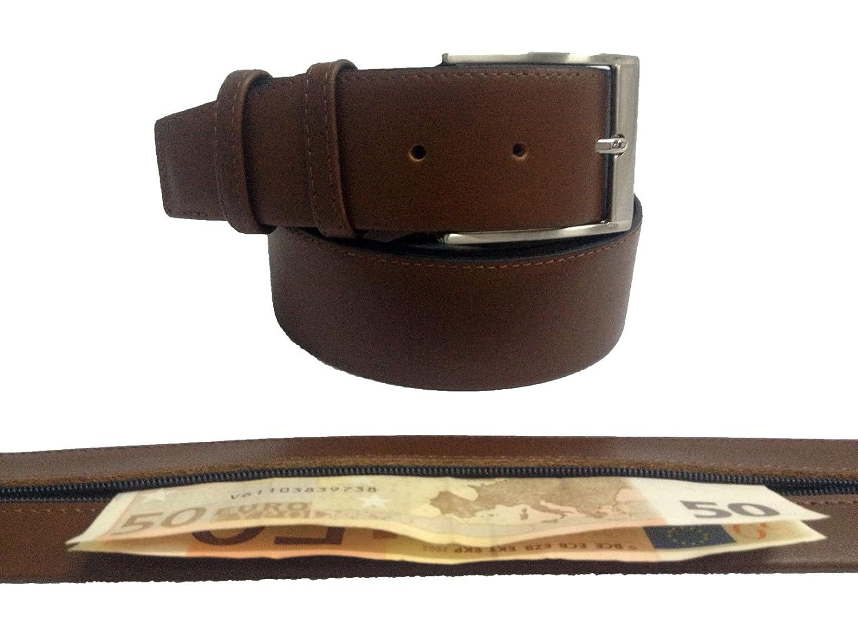 Fabricado En Espa/ña Alta Calidad Cintur/ón De Piel Con Cremallera Antirrobo Oculta