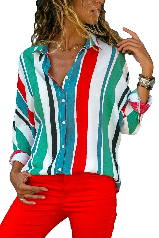 HUUSA Fashion Womens Tailored Long Sleeve Button Down Collar Shirt FZS0013