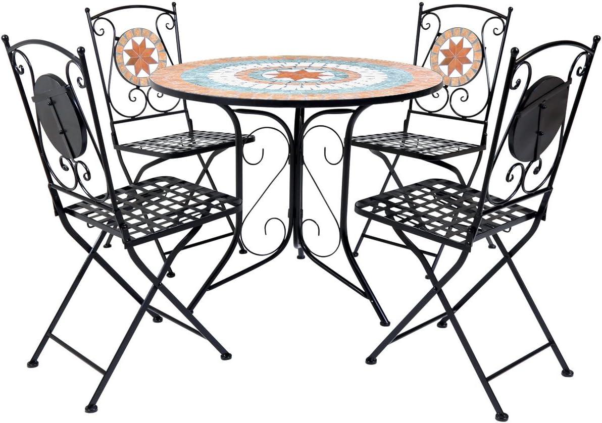 Juego de mesa y 4 sillas de jardín Charles Bentley con diseño de mosaico de terracota: Amazon.es: Jardín