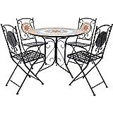 Charles Bentley Terracotta Mosaico 5 pezzi Set da pranzo 4 posti patio Mobili da giardino all'aperto