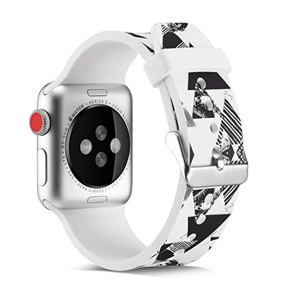 for Apple Watch Band 38mm/40mm,Fashion Pattern Designs Smartwatch Silicone Bands for Womens Men/Wristbands for iWatch Series 4&3&2&1 (White-3)