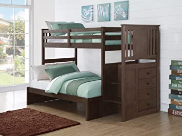 Amazon Com Custom Kids Furniture Gray Bunk Beds For Boys Or Girls In Twin Over Full Free Storage Pockets Furniture Decor