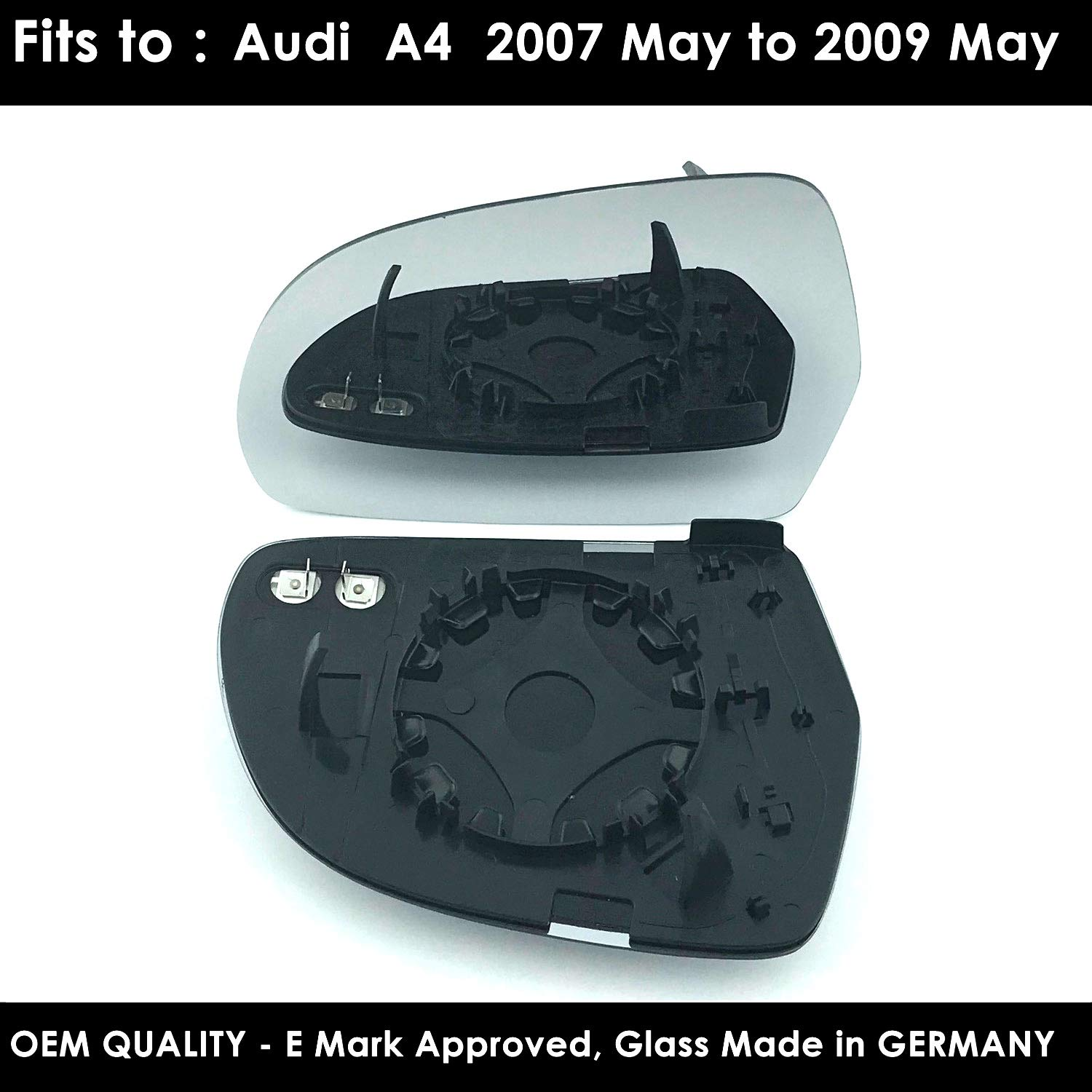 Audi A4 Door/Wing Mirror Glass Including Base Plate LH (Passenger Side)