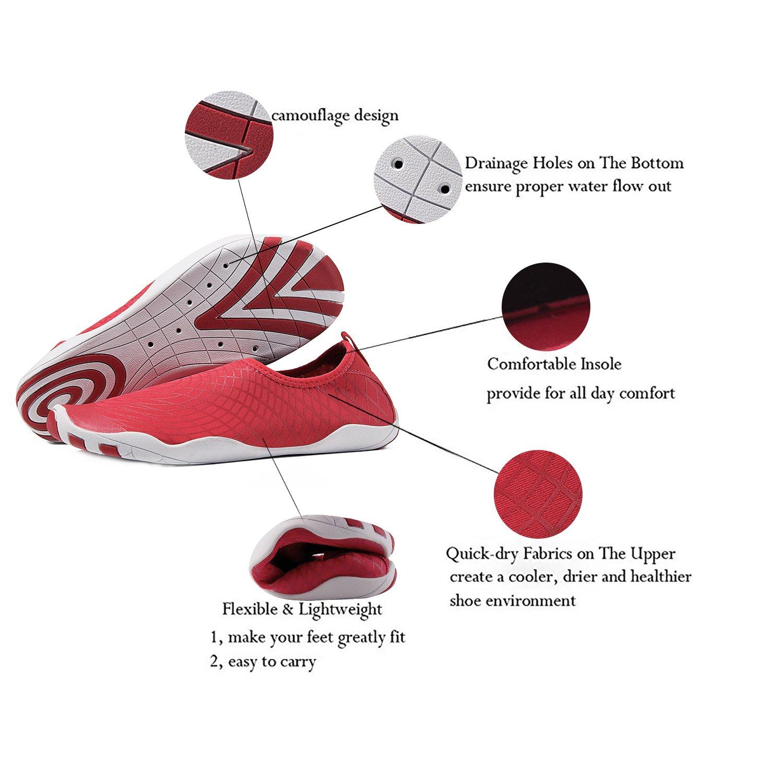 Zapatos de agua para hombre Playa para nadar para mujeres Zapatos de secado  rápido Piscina Aqua Socks Zapatos para Surf Aeróbicos acuáticos de yoga rojo c4cec66a564e