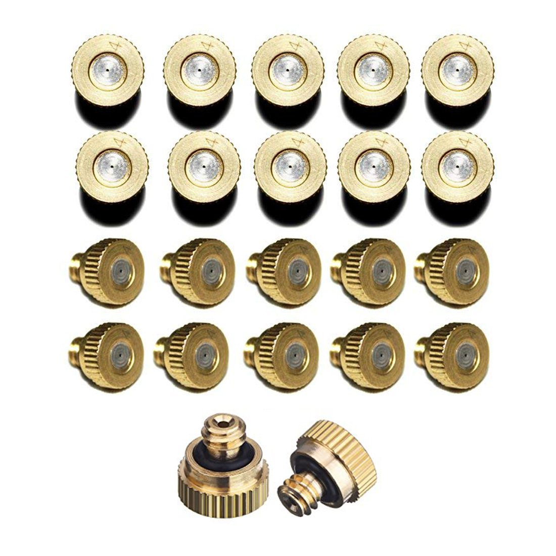 EONBON 22pcs/Pack 0.4mm Orifice 10/24 UNC Brass Misting Nozzles Low Pressure Mist Nozzle for Greenhouse Landscaping Dust Control and Outdoor Cooling Mister System