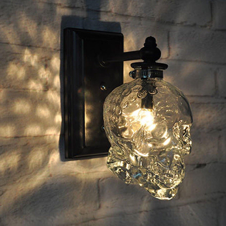 JUIANG Lampade da parete Loft retrò Industriale Lampada da Tavolo in Vetro Cranio Bar Creativo Applique da Parete Applique Moderna Lampada da Parete Chrome, b