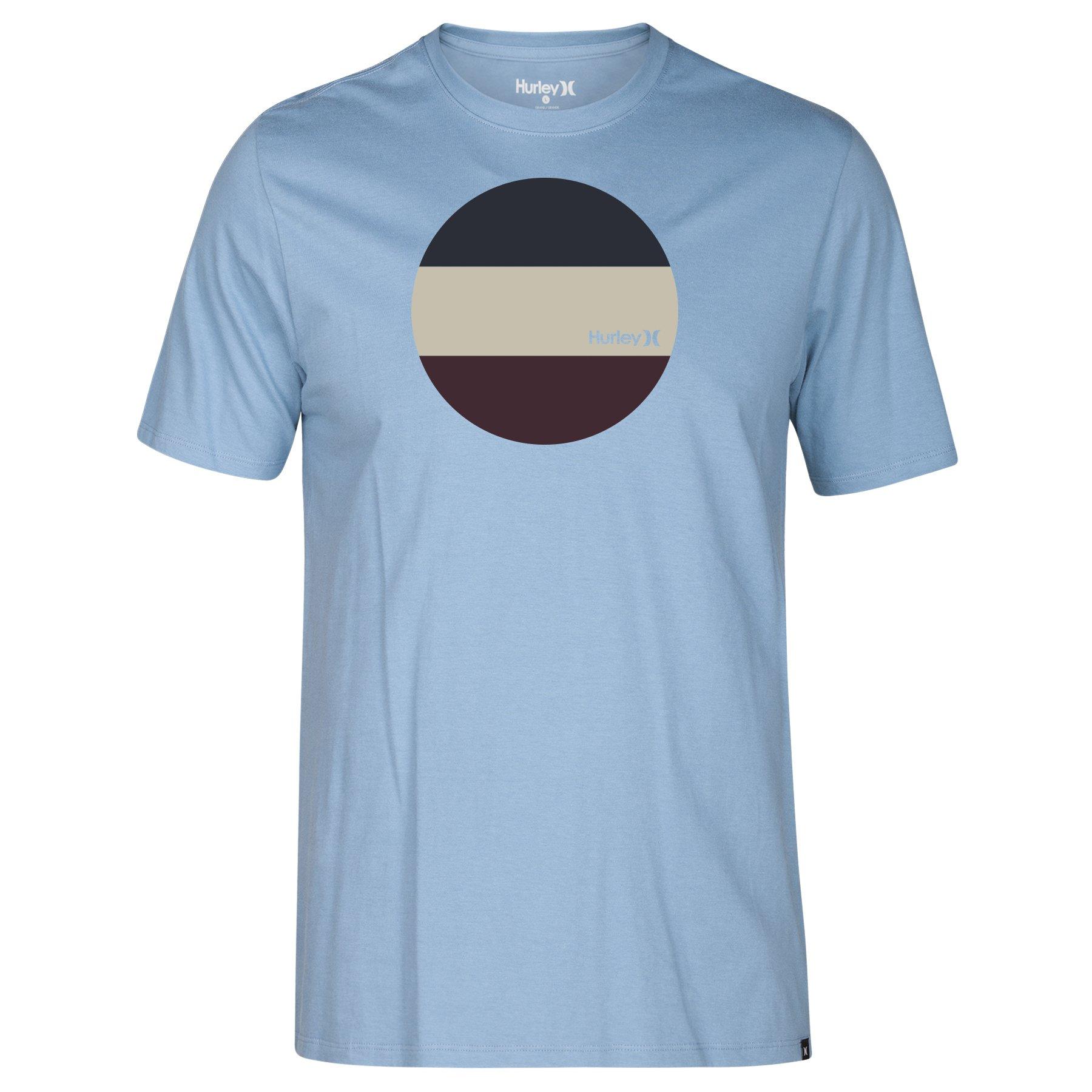 Hurley MTS0023350 Men's Circle Block T-Shirt, Cerulean - S