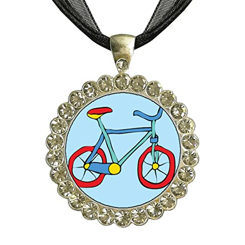 Silver Plated Necklace with Bicycle Charm and Crystals