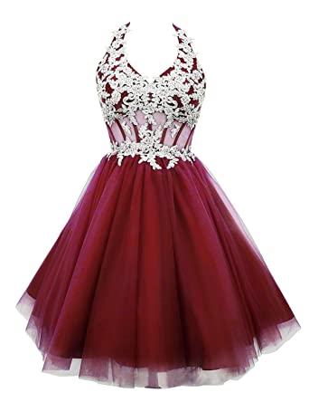 Katharina Shop Womens Aplique Short Homecoming Dress Tulle Prom Dresses Burgundy US2