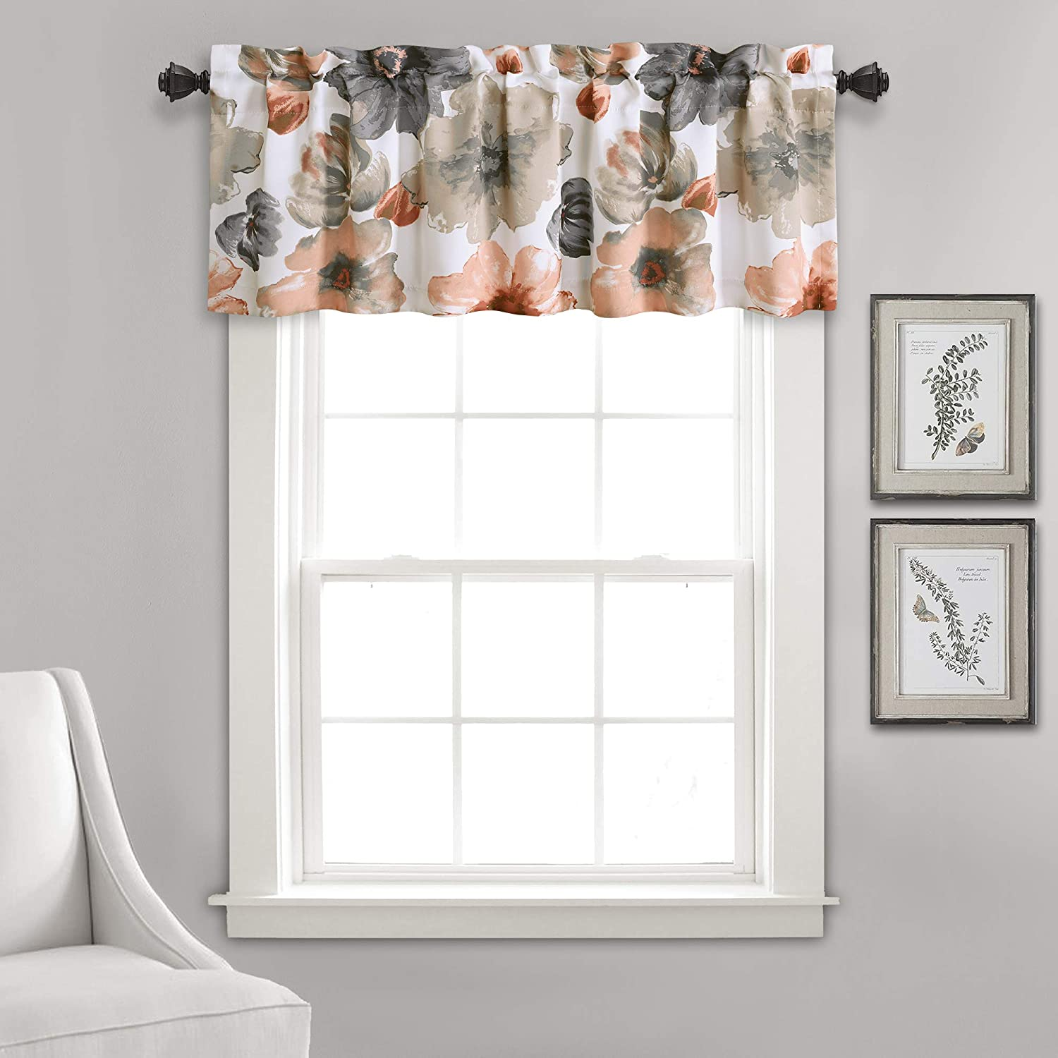 "Lush Decor Leah Room Darkening Widow Curtain Valance, 18"" x 52"" + 2"" Header, 18"" L, Leah RD Val Coral/Gray"