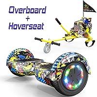 """COLORWAY Hoverboard Hover Scooter Board 6,5"""" con Asiento Kart con Ruedas de Flash LED, Patinete Eléctrico Altavoz Bluetooth y LED, Autoequilibrio de Scooter Eléctrico"""