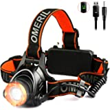 LED Head Torch -OMERIL USB Rechargeable Head Torches with Super Bright 2000 Lumens LED, 90° Rotating & Zoomable Headlamp, 3 Light Modes, Waterproof Headlight for Running/Walk/Cycle/Fishing/Camping